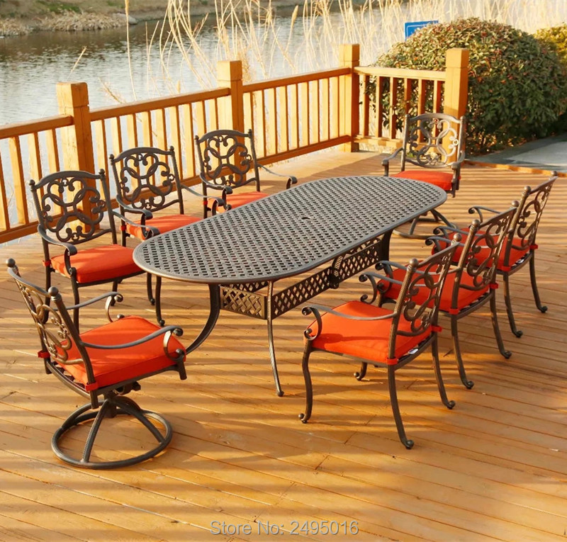 9pcs/set Heavy Duty  Oval Table With 8 Chairs Metal Furniture Patio Dining Set Garden Cast Aluminum Set  All Weather And Durable