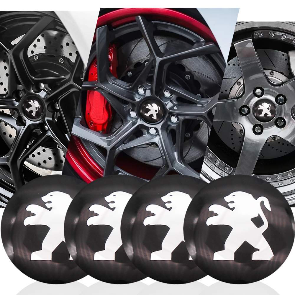 4pcs/lot 56mm Car Wheel Center Hub Car Tyre Emblem Decal Badge Sticker For Peugeot 308 2008 107 5008 206 3008 Car Accessories