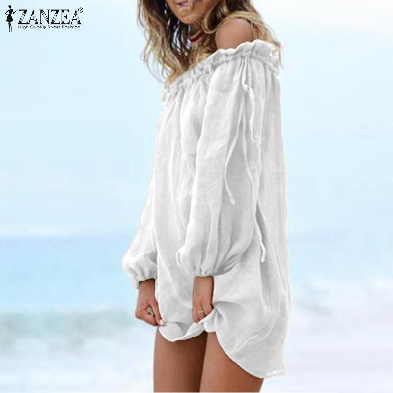 Summer Sexy Boat Neck Blouse ZANZEA Women Off Shoulder Long Sleeve Long Shirt Casual Solid Mini Vestido Beach Blusas White Tops
