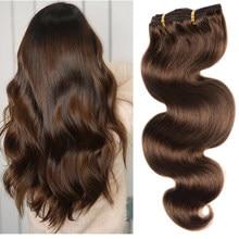 200g cabeça cheia grampo extensões de cabelo brasileiro máquina feita remy cabelo 100% real natural grampo de cabelo humano na cor marrom
