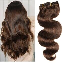 200 г накладные волосы на полной головке, бразильские волосы без повреждений машинной работы, 100% натуральные человеческие волосы на заколке ...