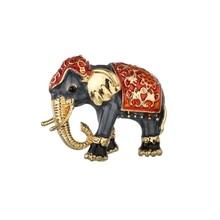 Gariton Enamel Elephant Brooches Pins Jewelry Gold-color Women Garment Scarf Accessory Rhinestone Crystal Animal Brooch