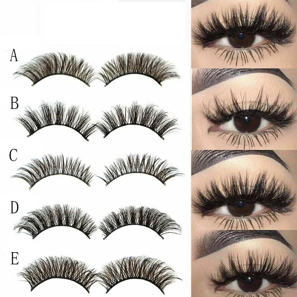 5 Pairs 3D Mink Hair Natural Crisscross Thick False Eyelashes Long Messy Makeup Fake Eye Lashes Extension Tapered Make Up Tools