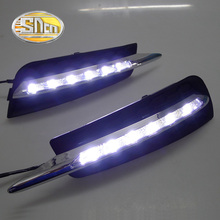 цена на For Chevrolet Cruze 2009~2014 Daytime Running Light DRL LED Fog Lamp Cover With Yellow Turning Signal Functions