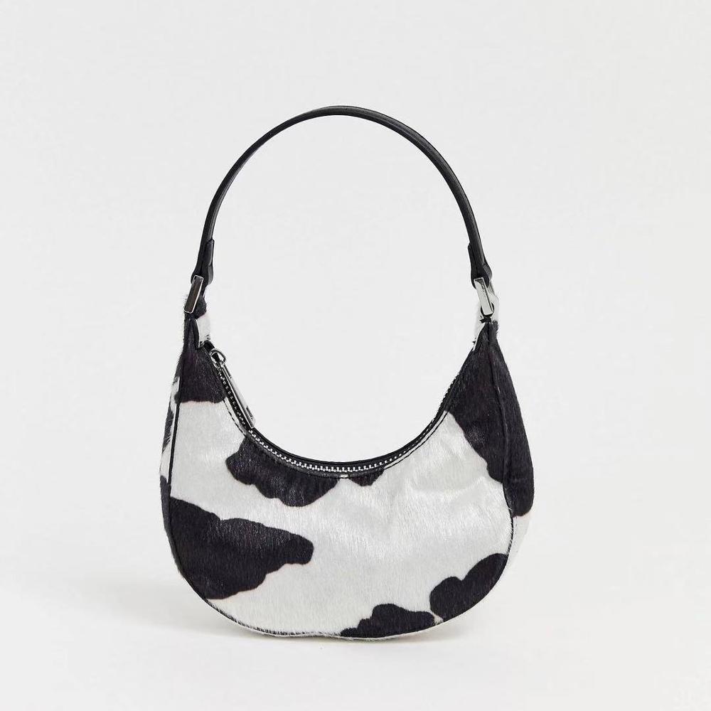 Fashion Cow Pattern Half Moon Women Shoulder Bags Designer Handbags Luxury Pu Leather Messenger Bag Lady Small Purses 2020 Mini