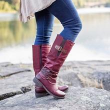 Buty damskie zimowa wysokiej jakości zamszowe zamki Pu długie buty okrągłe Toe stałe na niskim obcasie komfort obuwie damskie Zapatillas Mujer Plus rozmiar tanie tanio Giyu CN (pochodzenie) Na płótnie Podkolanówki zipper Plac heel Podstawowe Okrągły nosek Zima RUBBER Niska (1 cm-3 cm)
