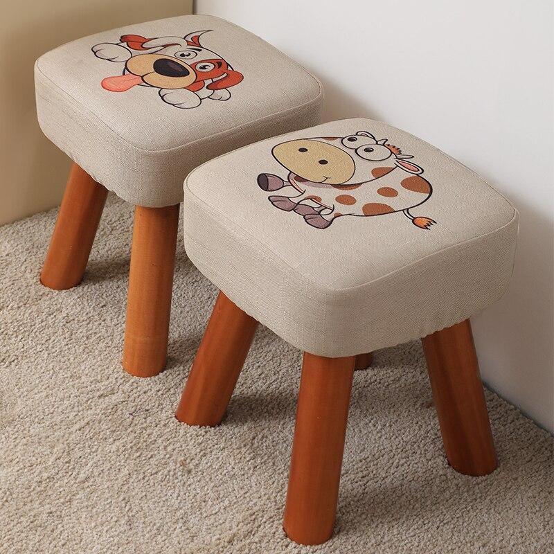 Маленький Домашний табурет, низкий табурет из твердой древесины, обувь, табурет, модная скамейка для взрослых, диван, табурет, деревянный