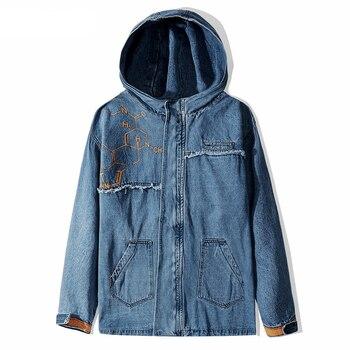 Blue Denim Jacket Hooded Men Streetwear Harajuku Long Style Jean Jacket Oversized Men Denim Jackets Patchs Cuff Terry Velcro