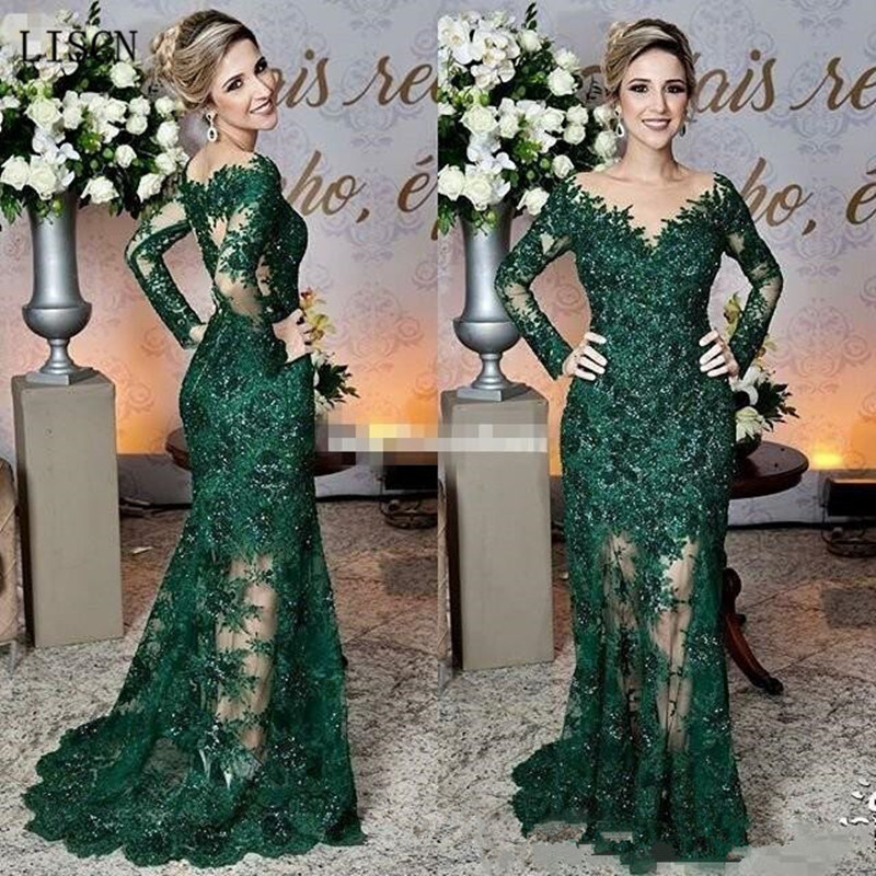 Sparkly Wedding Party Long Illusion Sleeve Vintage Dark Green Mother Of The Bride Dresses Lace Appliques Mermaid Formal Gowns