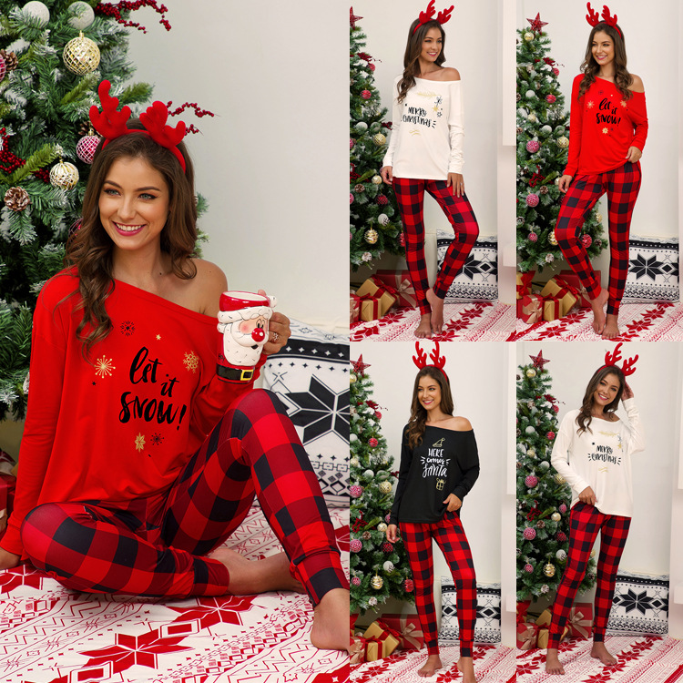 Women Xmas Loungewear Pyjamas Set Long Sleeve Letter Print Off Shoulder Tops+ Christmas Plaid Nightwear Pants Plus Size S-5XL