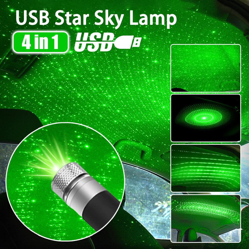 4 In 1 Mini LED Car Roof Star Night Lights Projector Light Interior Ambient Atmosphere Galaxy Lamp Decoration Light USB Plug