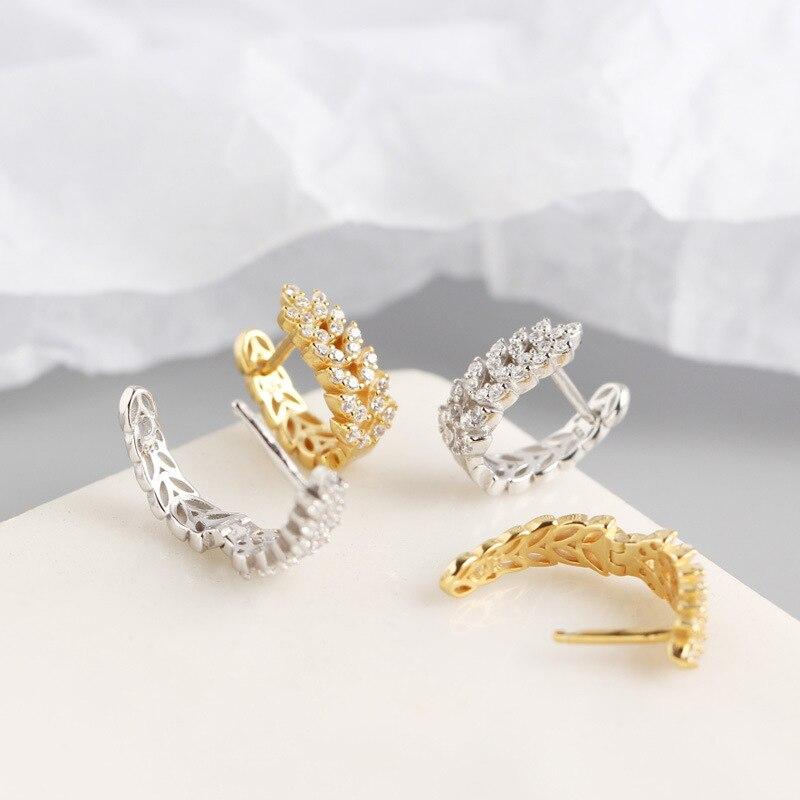 ANENJERY 925 en argent Sterling feuilles boucles d'oreilles pour les femmes français exquis élégant oreille bijoux S-E1377 5