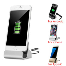Original For iPhone 7 Sync Data Fast Charging Dock Station Desktop Cradle Stand Docking Charger Android Micro USB Type C Charger micro usb charging dock charger data cradle