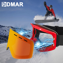 HD vision Ski Goggles with Magnetic Lens Skateboard Skiing Anti-fog UV400 Snowboard Goggles Men Women Ski Glasses Eyewear