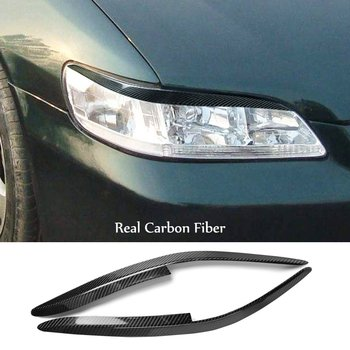 2*Real Carbon Fiber Headlight Eyelids Eyebtrow Cover For Honda Accord 1998-2002