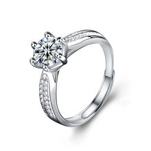 Solid Silver 2ct Lab Grown Diamond DEF Color VVS1 Moissanite 4 Prongs Solitaire with Accents Engagement Ring