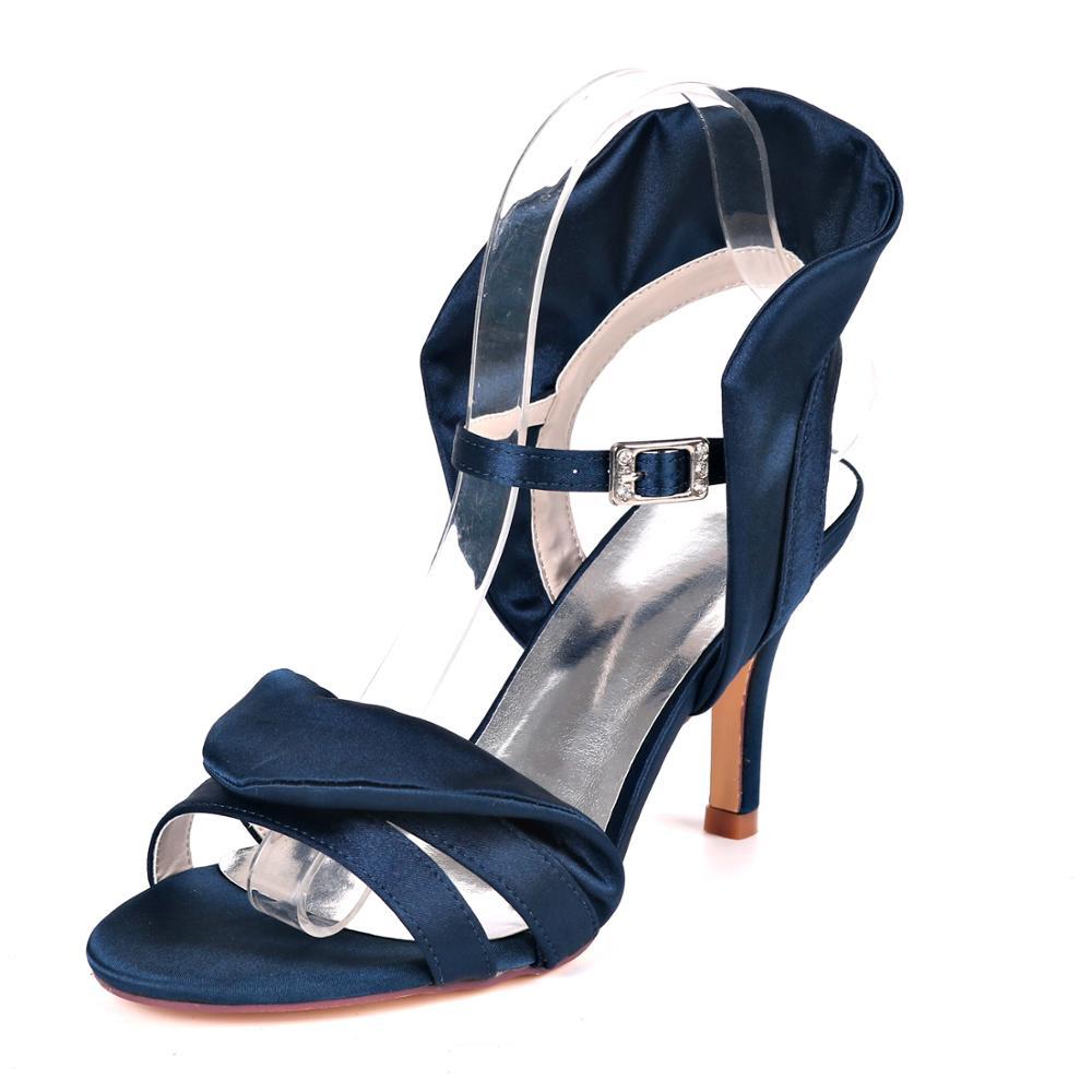 Sandalias De Mujer Satén Tacón nupcial Damas Zapatos De Plataforma y Correa en el Tobillo Fiesta Baile de graduación