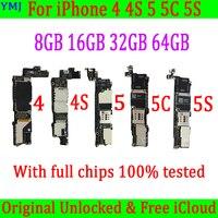 Placa base para iphone 4 4S 5 5C, 8GB /16GB /32GB, 5S con Sistema IOS, Original, desbloqueado, con Chips completos, 4S