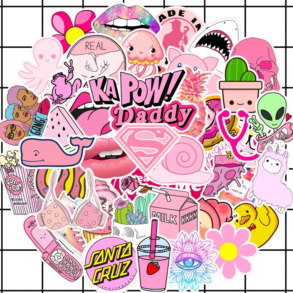 50PCS/lot Cartoon Pink INS Style Vsco Girl Stickers For Laptop Moto Skateboard Luggage Refrigerator Notebook Decal Toy Sticker