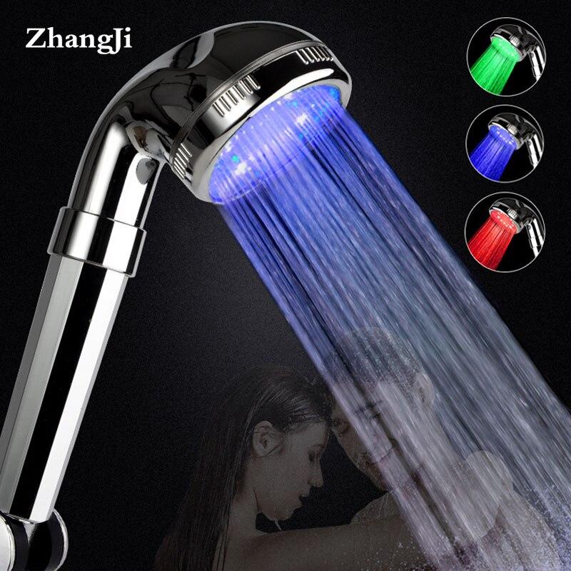 ZhangJi 3-Color LED Shower Head Temperature Sensor Multi-layer Electroplate PC Panel Strong Spray Bathroom Sprinkler Shower Head