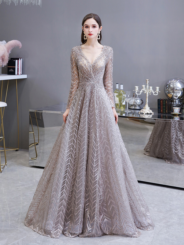 Formal-Gown Evening-Dress Crystal Dubai Long-Sleeve Beaded V-Neck Sexy Gorgeous Lace