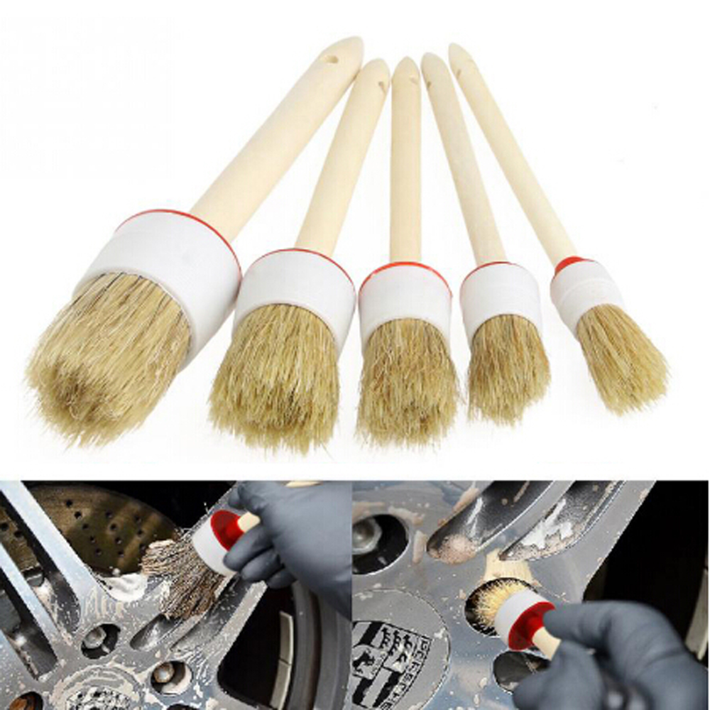 Car Brush Soft Bristle Wood Handle Auto Care For Interior Dashboard Rims Wheel Air-Conditioning Engine Wash Auto Detailing