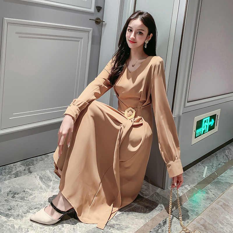 Новое осенне-весеннее платье больших размеров вечерние женские винтажные платья с поясом и длинными рукавами для девочек длинные рубашки халат в стиле бохо Vestido