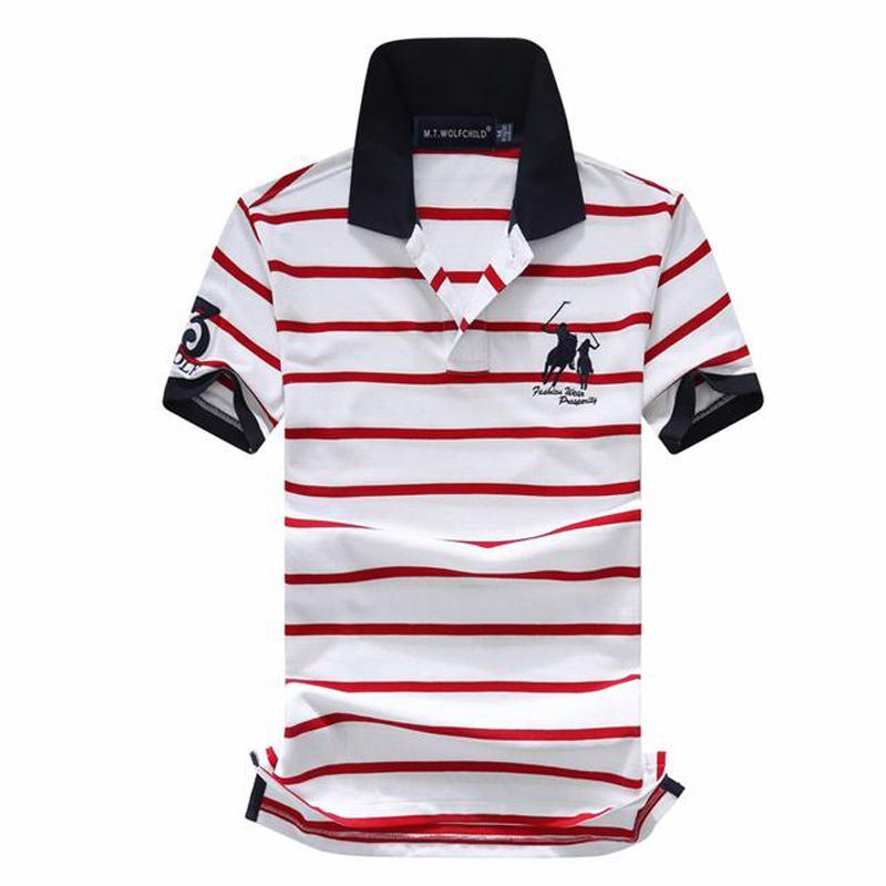 Good Qulaity 2019 Summer Men's Short Sleeve Big Horse Striped Polos Shrits Casual Cotton Mens Polos Shirts Fashion Slim Tops