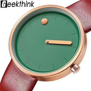 Image 1 - 탑 크리 에이 티브 디자이너 브랜드 쿼츠 시계 남성 가죽 캐주얼 남여 간단한 손목 시계 시계 남성 선물 relogio Masculino