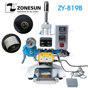 ZONESUN ZY-819B 80*90mm Hot Foil Pneumatic Stamping Press Printer for Leather Paper Customized Printable Area Embossing machine