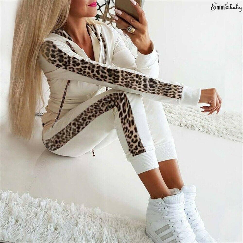 New Fashion Women 2Pcs Winter Autumn Hoodies Sports Tops Pants Tracksuit Leopard Sweatshirt Suit Jogging