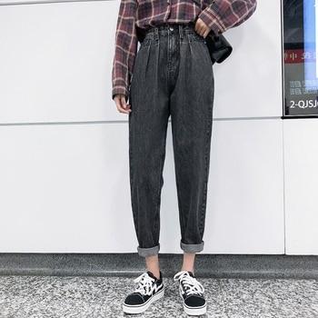 Jeans women's straight-leg loose 2020 spring daddy pants, wide-leg thin pants, plus size high-waist jeans, women's denim pants zipper fly plus size cat s whisker design straight leg jeans