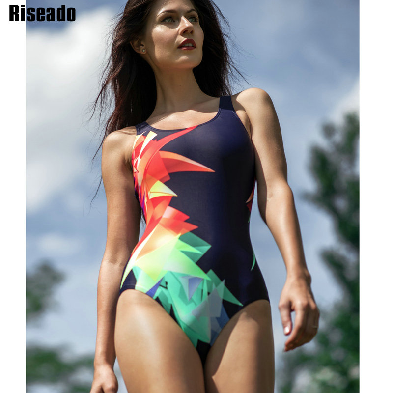 Riseado Competition Swimwear Women 2020 One Piece Swimsuit Racer Back Sport Swimming Suits for Women Digital Print Bathing Suits(China)