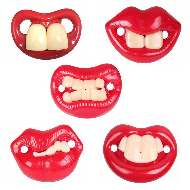 Baby Pacifier Teeth Red Lip Silicone Nipple Baby Supplies
