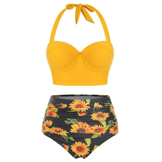 Women Sunflower Print Bikinis Suit Summer Sexy Floral Print Backless Swimsuit High Waist Two-Piece Suits Halter Neck Swimwear 4