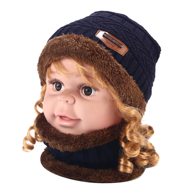 Children's Hat Bib Set Autumn And Winter New Outdoor Cold-proof Thickened Warm Knitted Hat Children's Hat