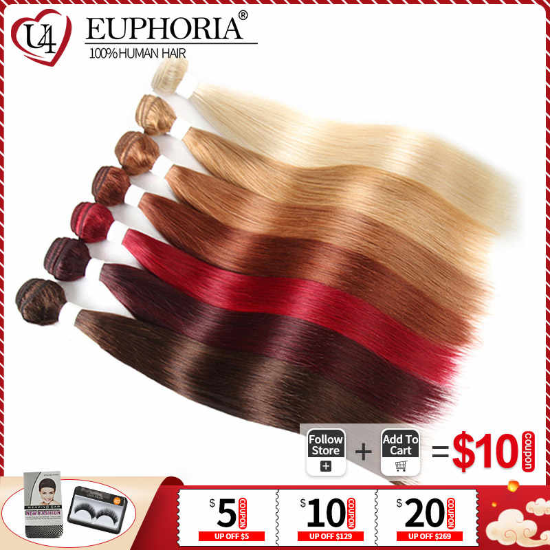 Burgundy Red Blonde 613 Brazilian Human Hair Weave 3 4 Bundles EUPHORIA Pre-Colored Straight Remy Hair Weft Extensions 8-26inch