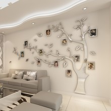 Wall Stickers Tree Photo Frame Sticker DIY Mirror Wall Decal Home TV Wall Room Background Living Decoration Decor Bedroom Poster(China)