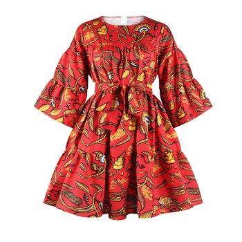 2019 جديد فساتين الأفريقية للنساء dashiki موضة الملابس طباعة الغنية بازان سوينغ الكشكشة كم فضفاض السيدات الملابس 2