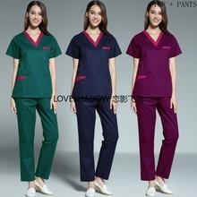 Color Blocking Doctor Nurse Scrubs Short Sleeve Scrub Top Side Vent Scrub Pants for Women Bog Pockets Cotton Medical Uniforms