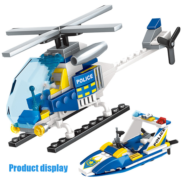 618PCS Sea World Police Building Blocks City Police Station Helicopter Surf Boat Bricks DIY Toys for Children Gifts
