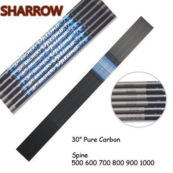 6/12pcs 30 Archery Pure Carbon Arrow Shaft Spine 500-1000 ID 4.2mm Shafts DIY Tools Shooting Hunting Accessories