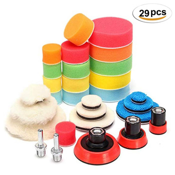 цена на 29Pcs Car Foam Drill Polishing Pad Kit 1.2/2/3 Inch Buffing Pads, Sponge Set Kit M14 Drill Adapter Power Tool Car Polisher