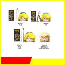 Série dos desenhos animados figuras de ação ligado princesa zelda mini tijolos diy montado blocos de construção do brinquedo modelo educacional presentes