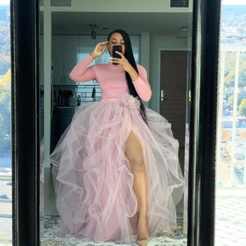 Ins Fashion Skirt Long princesa robe de mariee Custom Made Puffy Long Skirt Tulle Maxi High Slit Woman Tutu Skirts