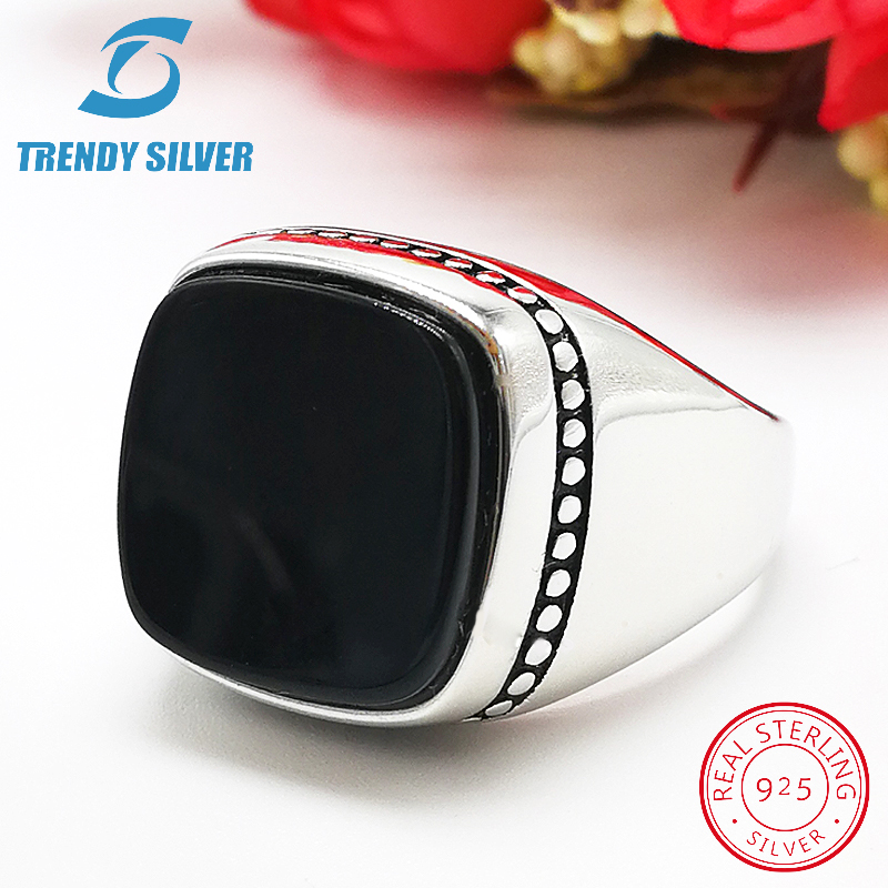 Silver 925 Fine Jewelry Man Rings Men Accessories Turquoise Gemstone Natural Black Onyx Agate Wholesale TRENDY SILVER TCR8064