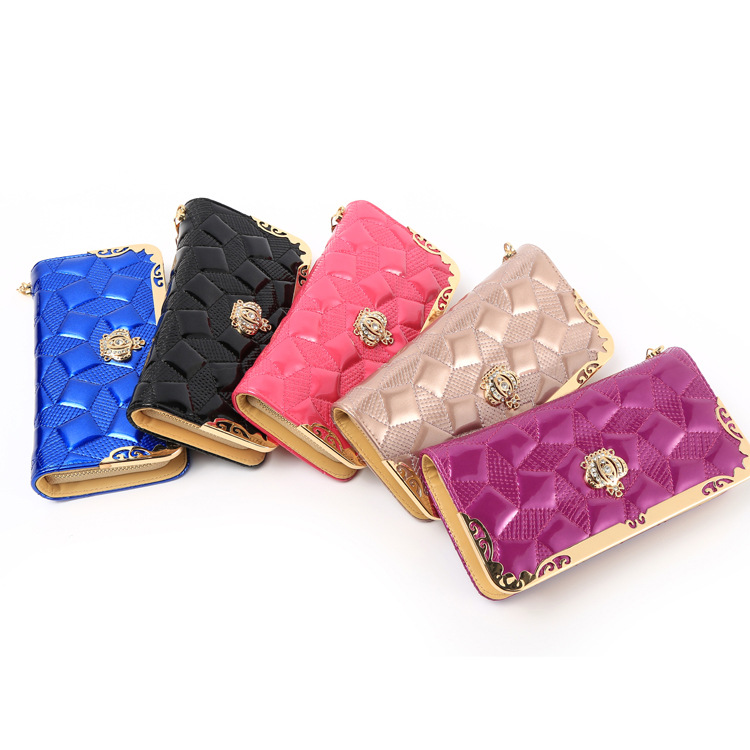 Fashion High Capacity Women Wallets Metal Crown Lady Long Clutch Wallet Female PU Leather Flip Up Card Holder Purse 9003#