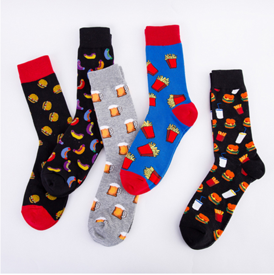 Ma'am Socks Colorful Hot Dog Burger Beer Pattern Food Autumn And Winter Trend Tube Cotton Socks Fashion Christmas Gift Socks