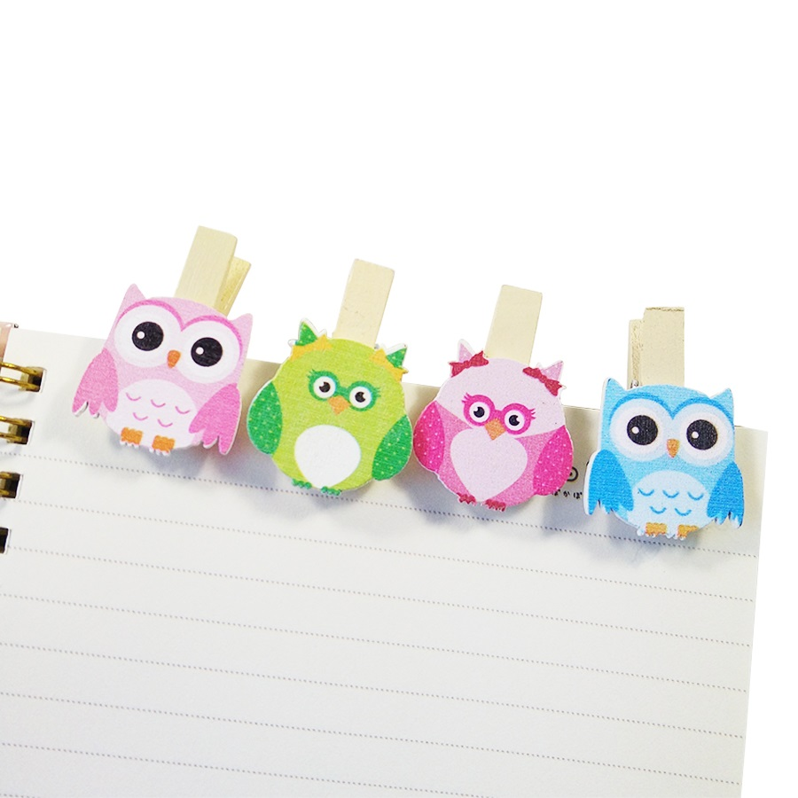 8pcs/lot Special Owl Pattern Small Wooden Clips For Room Photo Decoration Paper Wood Clip