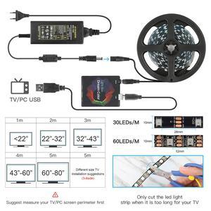 Image 2 - DIY הסביבה טלוויזיה מחשב חלום מסך USB LED רצועת HDTV מחשב צג תאורה אחורית מיעון WS2812B LED רצועת 1/2/3/4/5m סט מלא